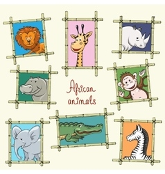 African animals in a wooden frames vector image