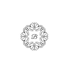 b letter logo monogram design elements line art vector image