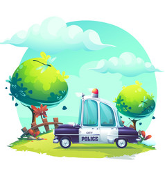 Background cartoon image pin-up police car vector