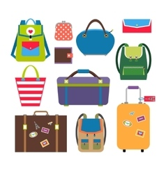 Bags and luggage flat icons vector image