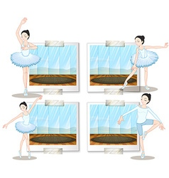 Ballet dancers dancing and stretching vector