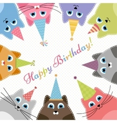 Birthday card with cute colorful cats vector