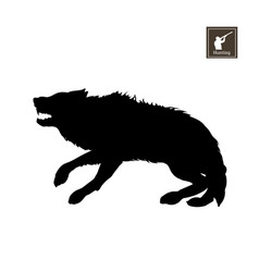 Black silhouette of frightened wolf vector