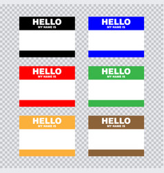 blank template tag my name is set of color vector image