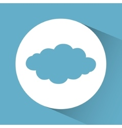 Blue and white design of cloud icon inside circle vector
