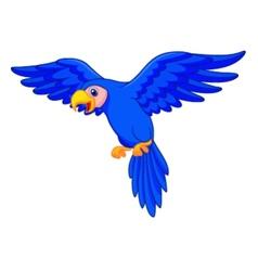 Blue parrot cartoon flying vector image