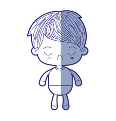 Blue shading silhouette of kawaii little boy with vector