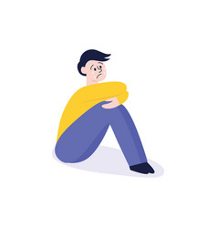 bullying of teen man sitting alone flat vector image