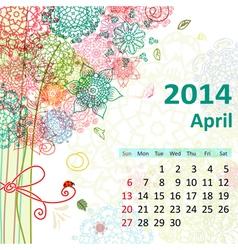 calendar 2014 04 vector image