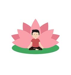 Calm guy is doing yoga vector