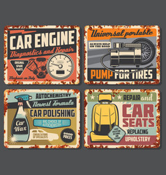 Car service rust sign plates auto service station vector