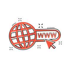 cartoon go to web icon in comic style globe world vector image