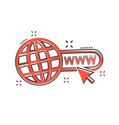 Cartoon go to web icon in comic style globe world vector