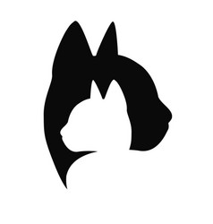 Cat care logo black color on white background vector