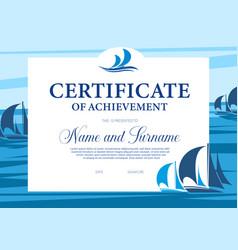 Certificate achievement in yacht regatta vector