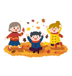 Children boy and girl playing autumn leaves vector