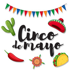 cinco de mayo with mexican ornaments vector image