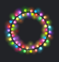 Circular colored glowing garland vector