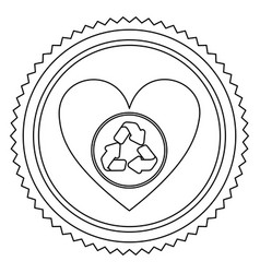 circular frame contour with heart with recycling vector image