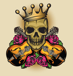 color poster template with guitar skull and rose vector image