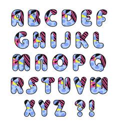 colorful alphabet decorative font vector image