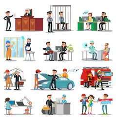 Colorful professions and occupations collection vector