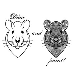 Coloring book page with patterned head rat or vector