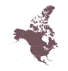 detailed map north america continent vector image