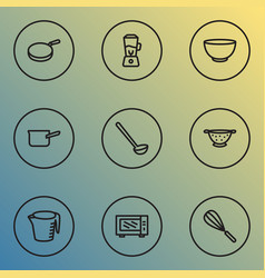 dishware icons line style set with casserole vector image
