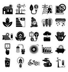 Energy saving icon set simple style vector