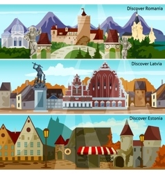 European Cityscapes Banners Set vector image