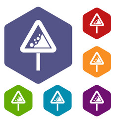 falling rocks warning traffic sign icons set vector image