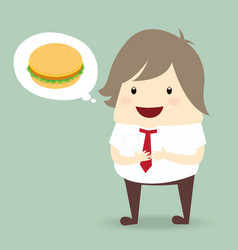 fat businessman is thinking want to eat burger vector image