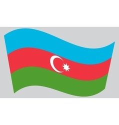 Flag of Azerbaijan waving on gray background vector image