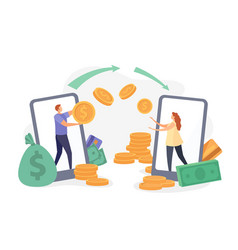 flat characters transfer money with smartphone vector image