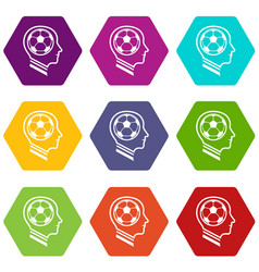 football player icons set 9 vector image
