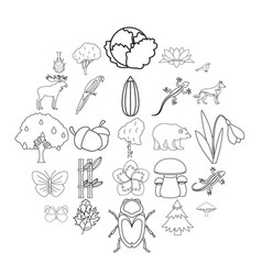 forest animal icons set outline style vector image