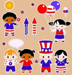 Fourth july children vector