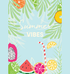 Fruit design with summer vibes typography slogan vector