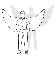 full length of man standing with wings on his vector image
