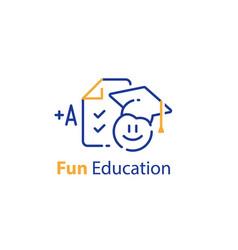 Fun education concept emoticon and checklist vector