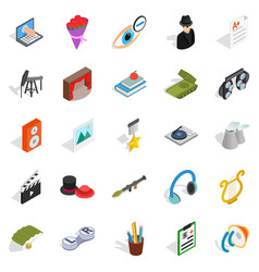 Functioning icons set isometric style vector