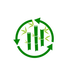 green bamboo stems sticks with green leaves icon vector image