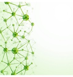 Green molecules background vector