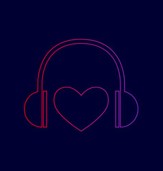 Headphones with heart line icon with vector