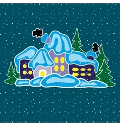 House in winter forest vector