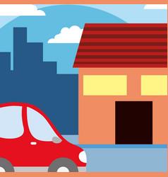 House with car cartoon vector