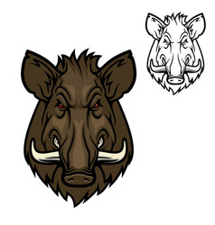 hunter club mascot icon wild boar hog animal vector image
