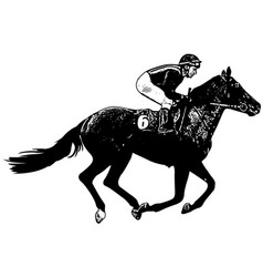 Jockey riding galloping race horse sketch vector