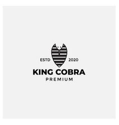 King cobra head face logo design flat vector